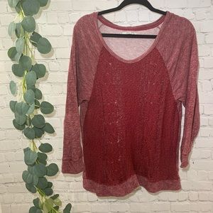 XL Lucky Brand Lotus Heathered Red Knit Sweater